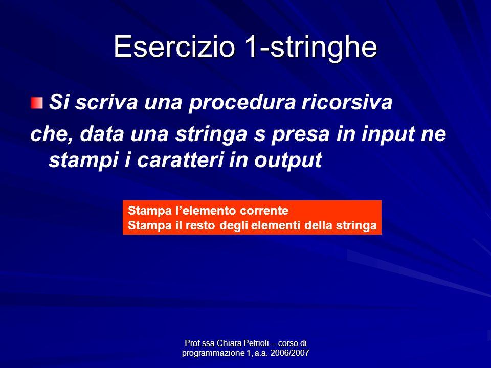 Prof.ssa Chiara Petrioli -- corso di programmazione 1, a.a. 2006/2007 Esercizio 1-stringhe Si scriva una procedura ricorsiva che, data una stringa s p