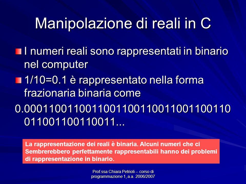 Prof.ssa Chiara Petrioli -- corso di programmazione 1, a.a. 2006/2007 Manipolazione di reali in C I numeri reali sono rappresentati in binario nel com
