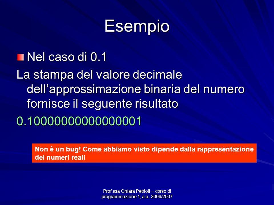 Prof.ssa Chiara Petrioli -- corso di programmazione 1, a.a. 2006/2007 Esempio Nel caso di 0.1 La stampa del valore decimale dellapprossimazione binari