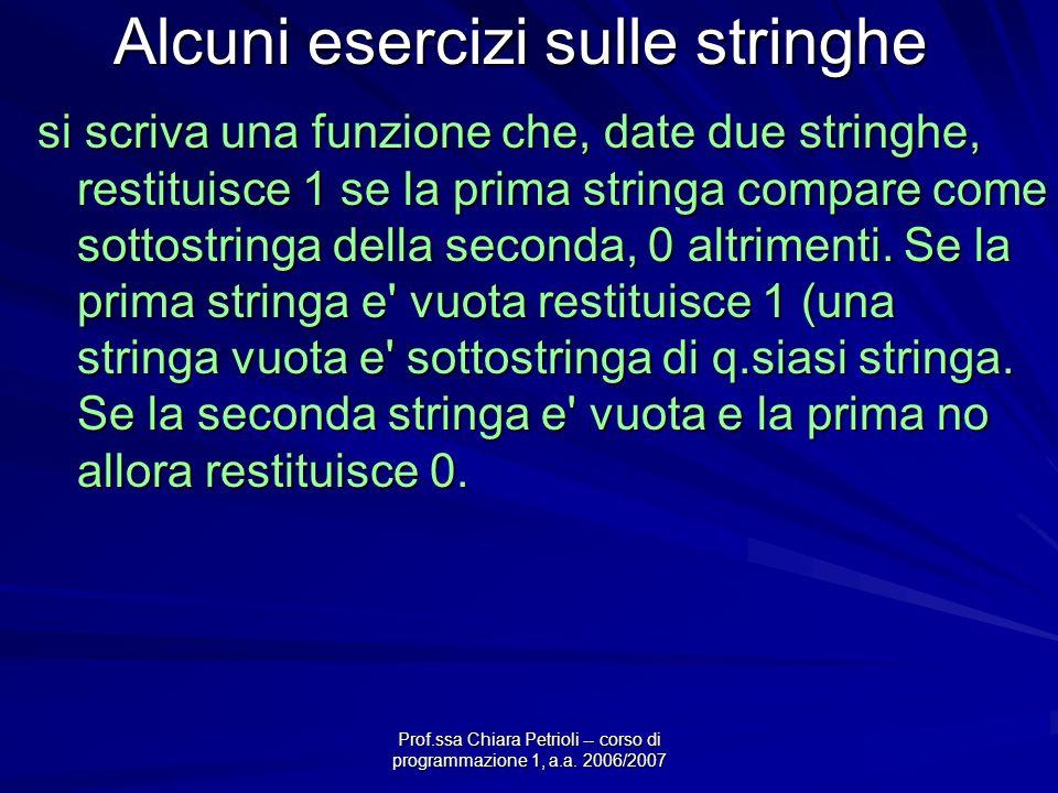 Prof.ssa Chiara Petrioli -- corso di programmazione 1, a.a. 2006/2007 Alcuni esercizi sulle stringhe si scriva una funzione che, date due stringhe, re