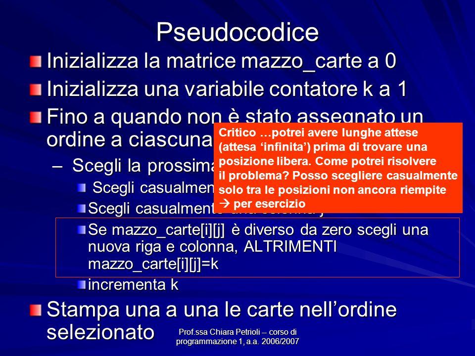 Prof.ssa Chiara Petrioli -- corso di programmazione 1, a.a. 2006/2007 Pseudocodice Inizializza la matrice mazzo_carte a 0 Inizializza una variabile co