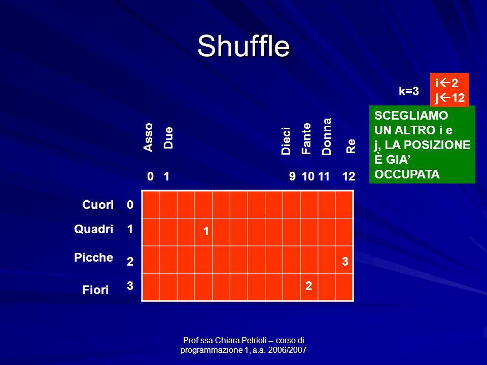 Prof.ssa Chiara Petrioli -- corso di programmazione 1, a.a. 2006/2007 Shuffle Cuori Quadri Picche Fiori 0 1 2 3 011011129 Asso Due Dieci Fante Donna R