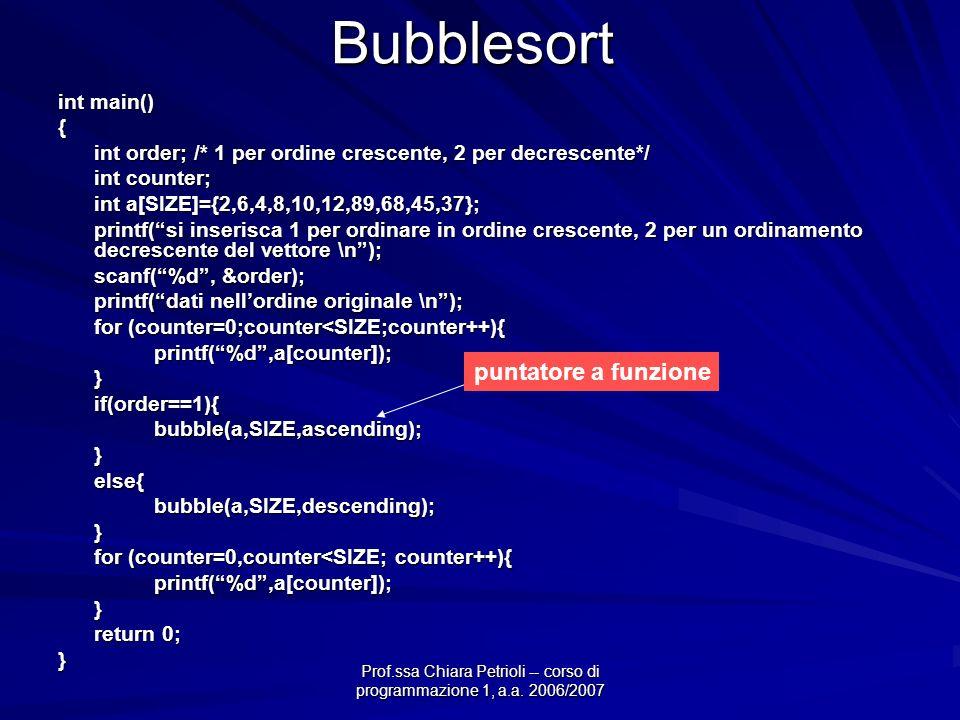 Prof.ssa Chiara Petrioli -- corso di programmazione 1, a.a. 2006/2007Bubblesort int main() { int order; /* 1 per ordine crescente, 2 per decrescente*/