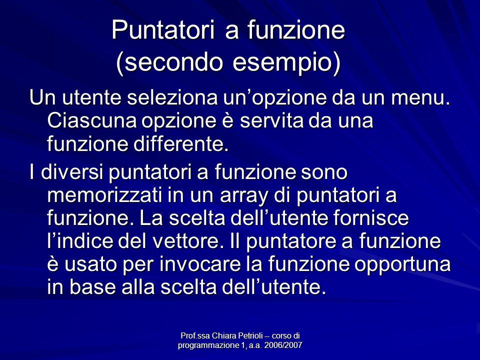 Prof.ssa Chiara Petrioli -- corso di programmazione 1, a.a. 2006/2007 Puntatori a funzione (secondo esempio) Un utente seleziona unopzione da un menu.