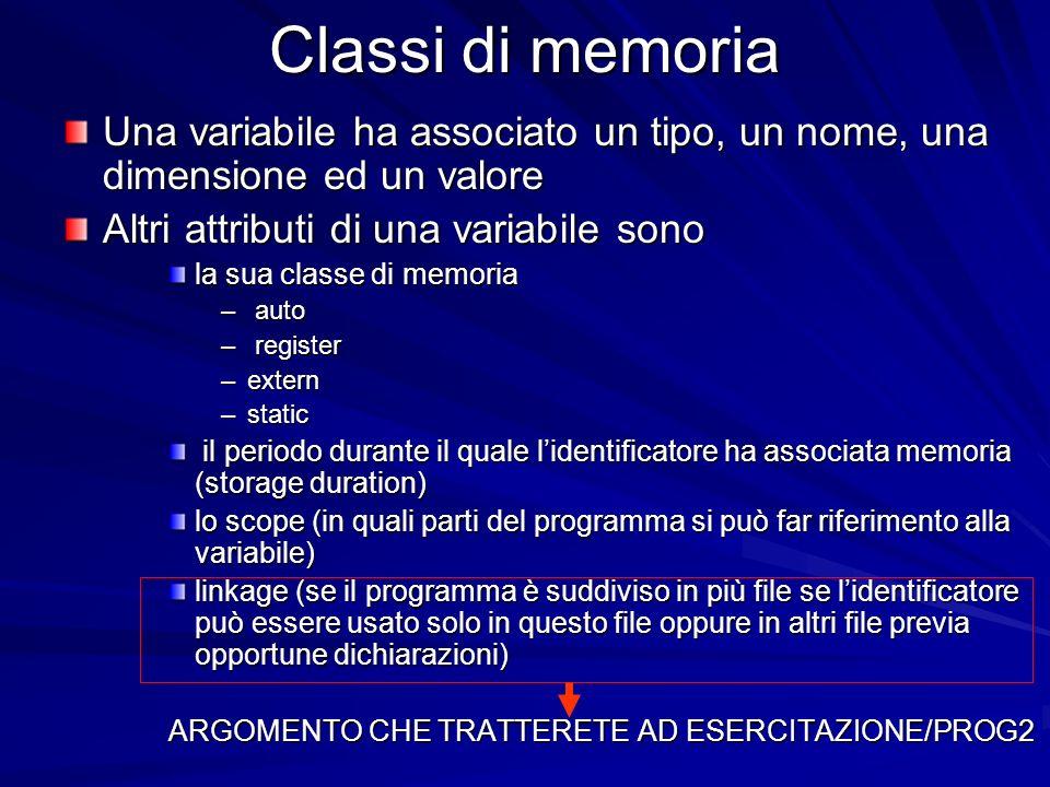 Classi di memoria Una variabile ha associato un tipo, un nome, una dimensione ed un valore Altri attributi di una variabile sono la sua classe di memoria – auto – register –extern –static il periodo durante il quale lidentificatore ha associata memoria (storage duration) il periodo durante il quale lidentificatore ha associata memoria (storage duration) lo scope (in quali parti del programma si può far riferimento alla variabile) linkage (se il programma è suddiviso in più file se lidentificatore può essere usato solo in questo file oppure in altri file previa opportune dichiarazioni) ARGOMENTO CHE TRATTERETE AD ESERCITAZIONE/PROG2