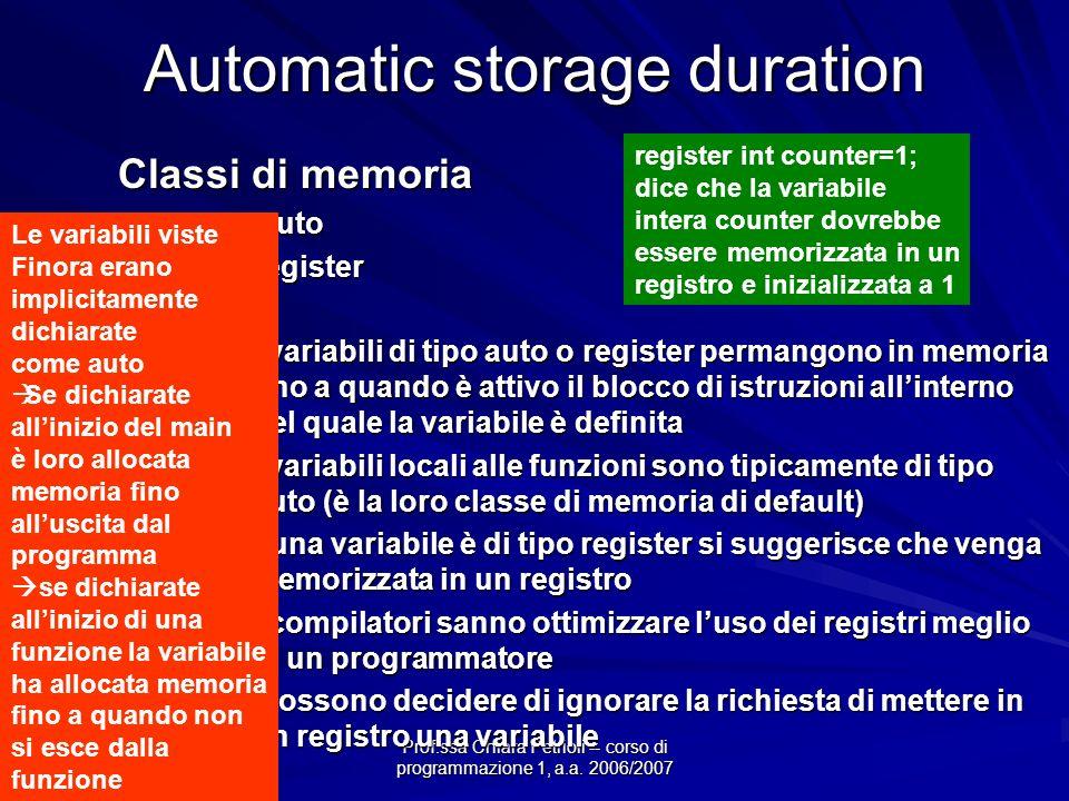 Prof.ssa Chiara Petrioli -- corso di programmazione 1, a.a. 2006/2007 Automatic storage duration Classi di memoria auto autoregister Le variabili di t