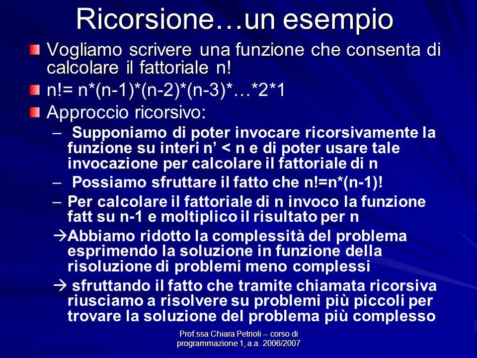 Prof.ssa Chiara Petrioli -- corso di programmazione 1, a.a. 2006/2007 Ricorsione…un esempio Vogliamo scrivere una funzione che consenta di calcolare i