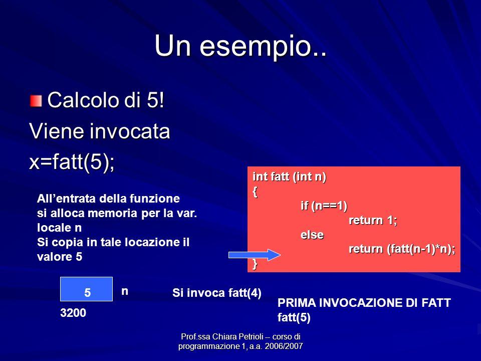 Prof.ssa Chiara Petrioli -- corso di programmazione 1, a.a. 2006/2007 Un esempio.. Calcolo di 5! Viene invocata x=fatt(5); int fatt (int n) { if (n==1