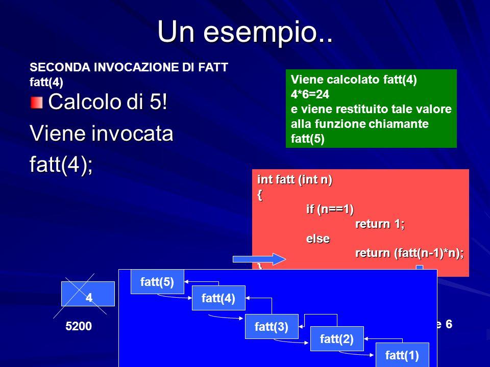 Prof.ssa Chiara Petrioli -- corso di programmazione 1, a.a. 2006/2007 Un esempio.. Calcolo di 5! Viene invocata fatt(4); int fatt (int n) { if (n==1)