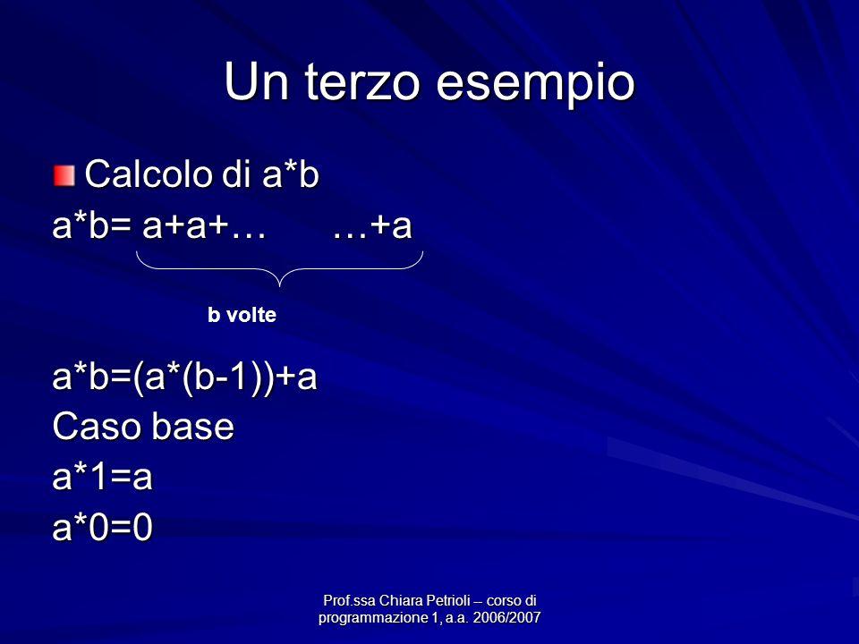 Prof.ssa Chiara Petrioli -- corso di programmazione 1, a.a. 2006/2007 Un terzo esempio Calcolo di a*b a*b= a+a+… …+a a*b=(a*(b-1))+a Caso base a*1=aa*
