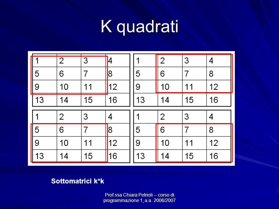 Prof.ssa Chiara Petrioli -- corso di programmazione 1, a.a. 2006/2007 K quadrati Sottomatrici k*k