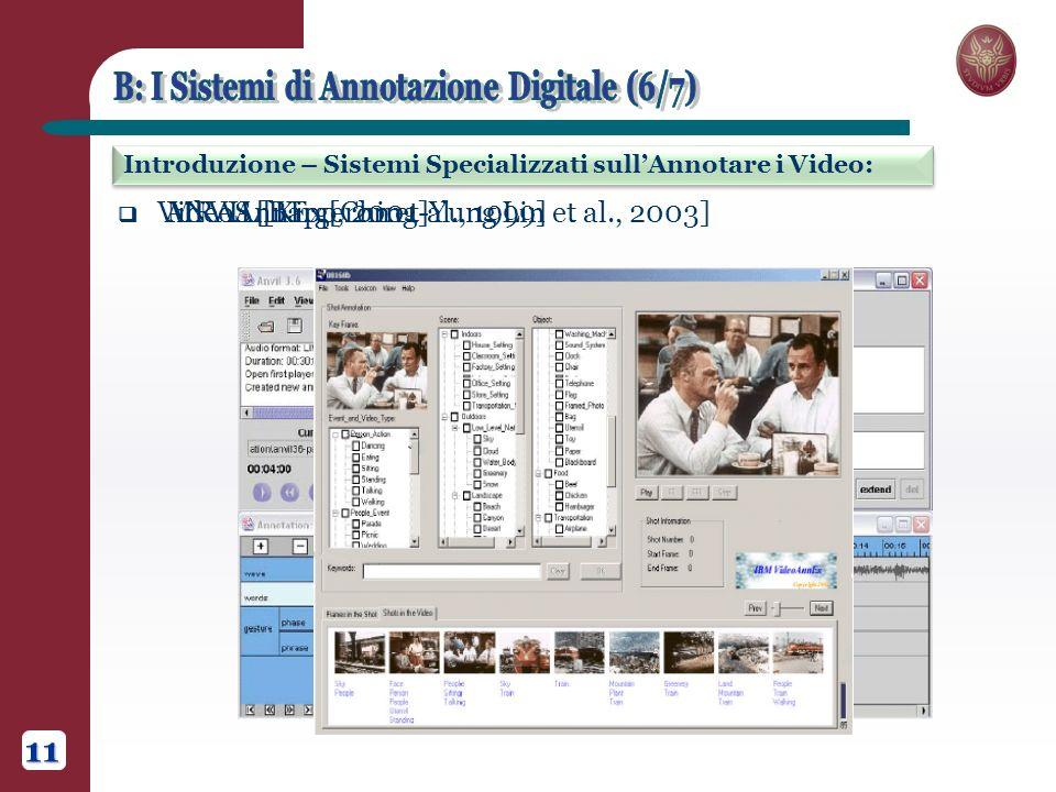 Introduzione – Sistemi Specializzati sullAnnotare i Video: 11 MRAS [Bargeron et al., 1999] ANVIL [Kipp, 2001] VideoAnnEx [Ching-Yung Lin et al., 2003]