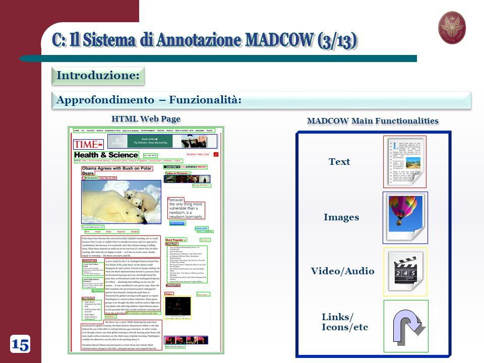Approfondimento – Funzionalità: Introduzione: HTML Web Page MADCOW Main Functionalities Links/ Icons/etc Text Images Video/Audio 15