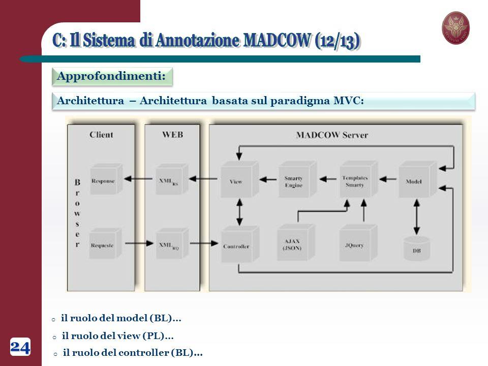Architettura – Architettura basata sul paradigma MVC: Approfondimenti: 24 o il ruolo del model (BL)… o il ruolo del view (PL)… o il ruolo del controller (BL)...