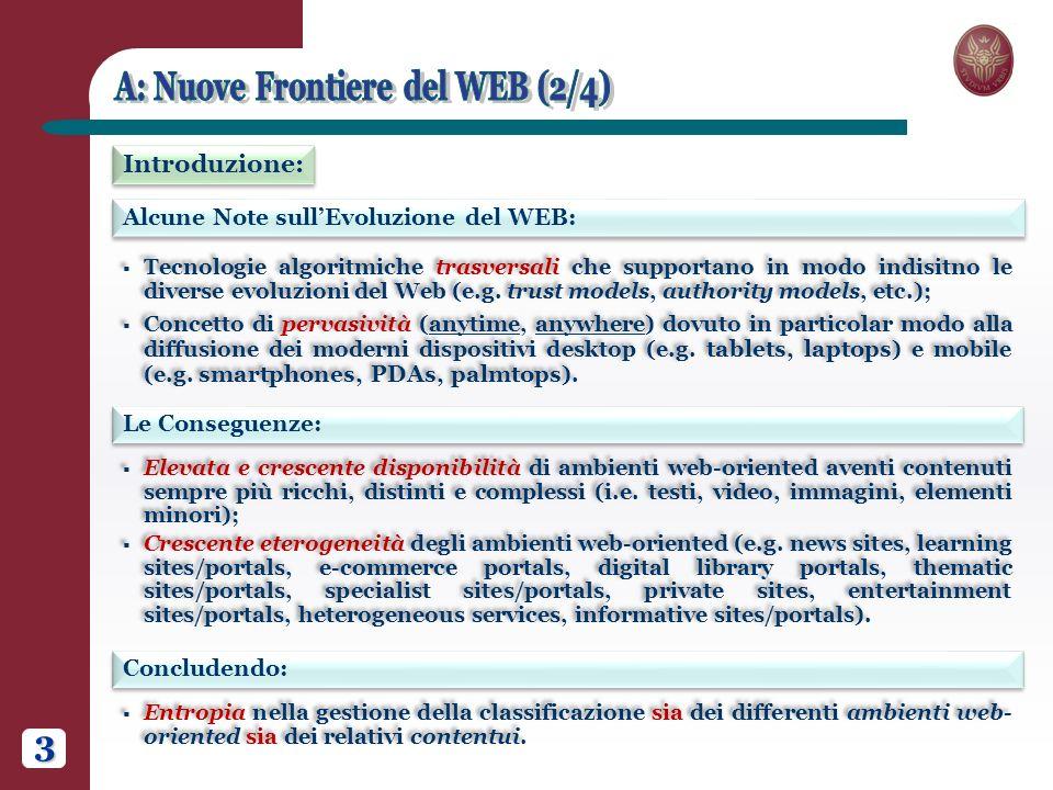3 Alcune Note sullEvoluzione del WEB: Introduzione: Le Conseguenze: Tecnologie algoritmiche trasversali che supportano in modo indisitno le diverse evoluzioni del Web (e.g.