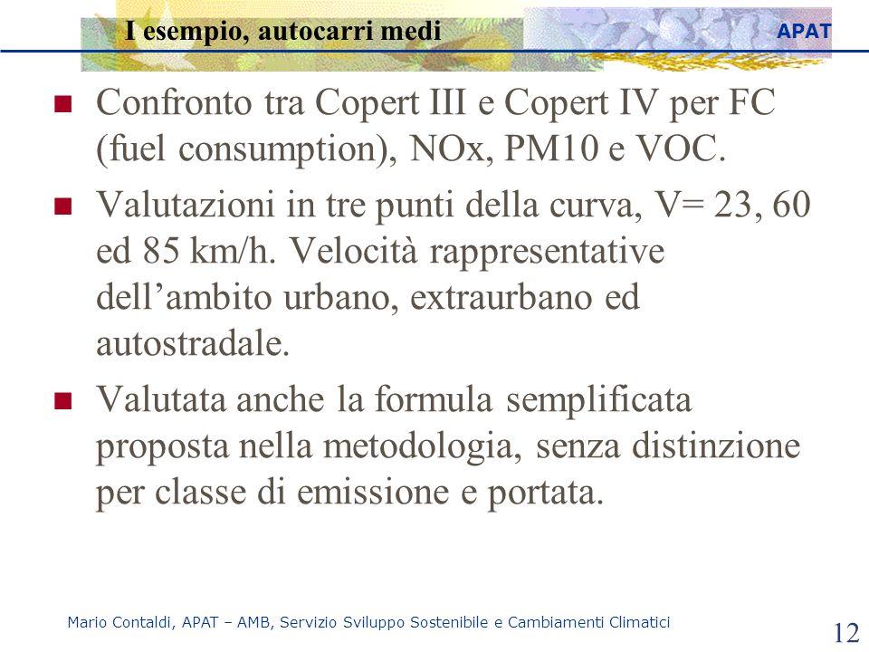 APAT Mario Contaldi, APAT – AMB, Servizio Sviluppo Sostenibile e Cambiamenti Climatici 12 I esempio, autocarri medi Confronto tra Copert III e Copert IV per FC (fuel consumption), NOx, PM10 e VOC.