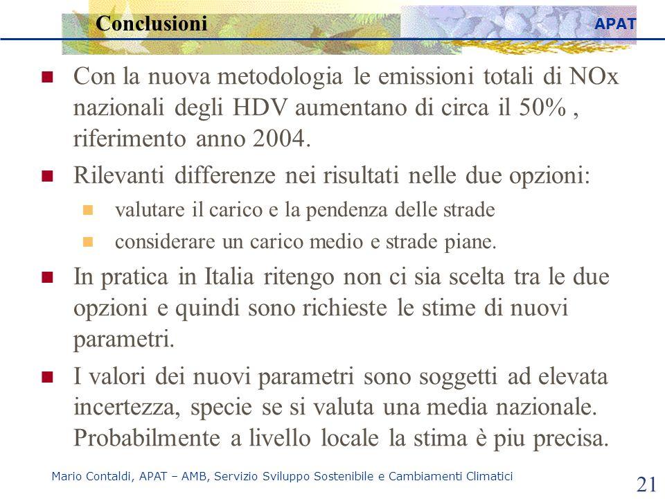APAT Mario Contaldi, APAT – AMB, Servizio Sviluppo Sostenibile e Cambiamenti Climatici 21 Conclusioni Con la nuova metodologia le emissioni totali di NOx nazionali degli HDV aumentano di circa il 50%, riferimento anno 2004.