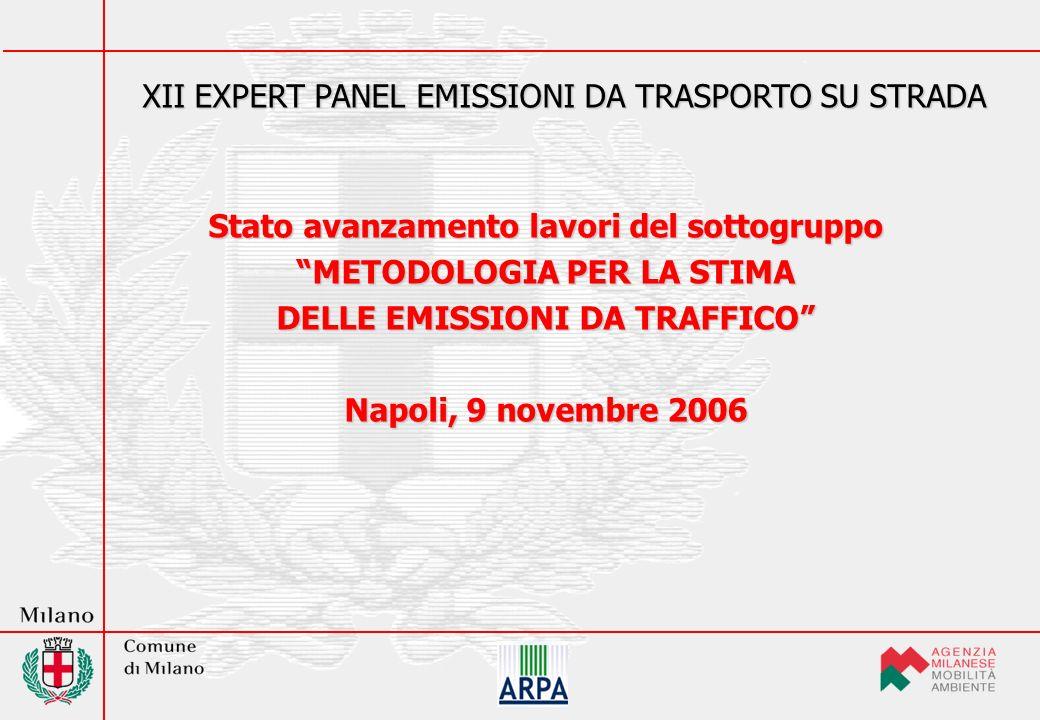 Stato avanzamento lavori del sottogruppo METODOLOGIA PER LA STIMA DELLE EMISSIONI DA TRAFFICO Napoli, 9 novembre 2006 XII EXPERT PANEL EMISSIONI DA TRASPORTO SU STRADA
