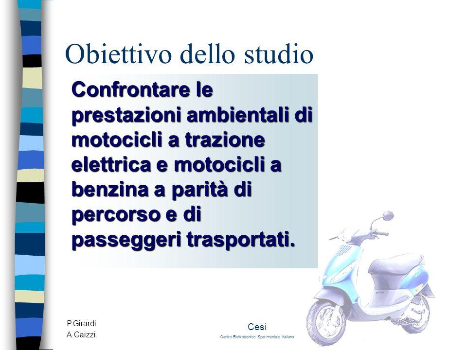 P.Girardi A.Caizzi Cesi Centro Elettrotecnico Sperimentale Italiano Obiettivo dello studio Confrontare le prestazioni ambientali di motocicli a trazio
