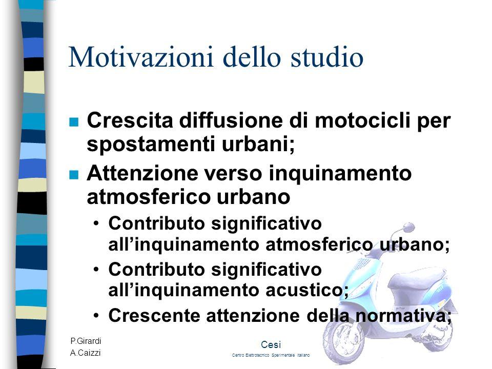 P.Girardi A.Caizzi Cesi Centro Elettrotecnico Sperimentale Italiano Motivazioni dello studio n Crescita diffusione di motocicli per spostamenti urbani