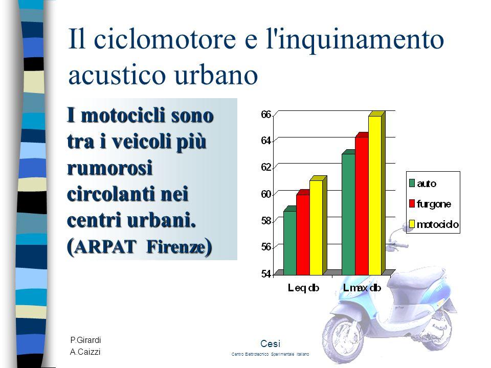P.Girardi A.Caizzi Cesi Centro Elettrotecnico Sperimentale Italiano Il ciclomotore e l'inquinamento acustico urbano I motocicli sono tra i veicoli più