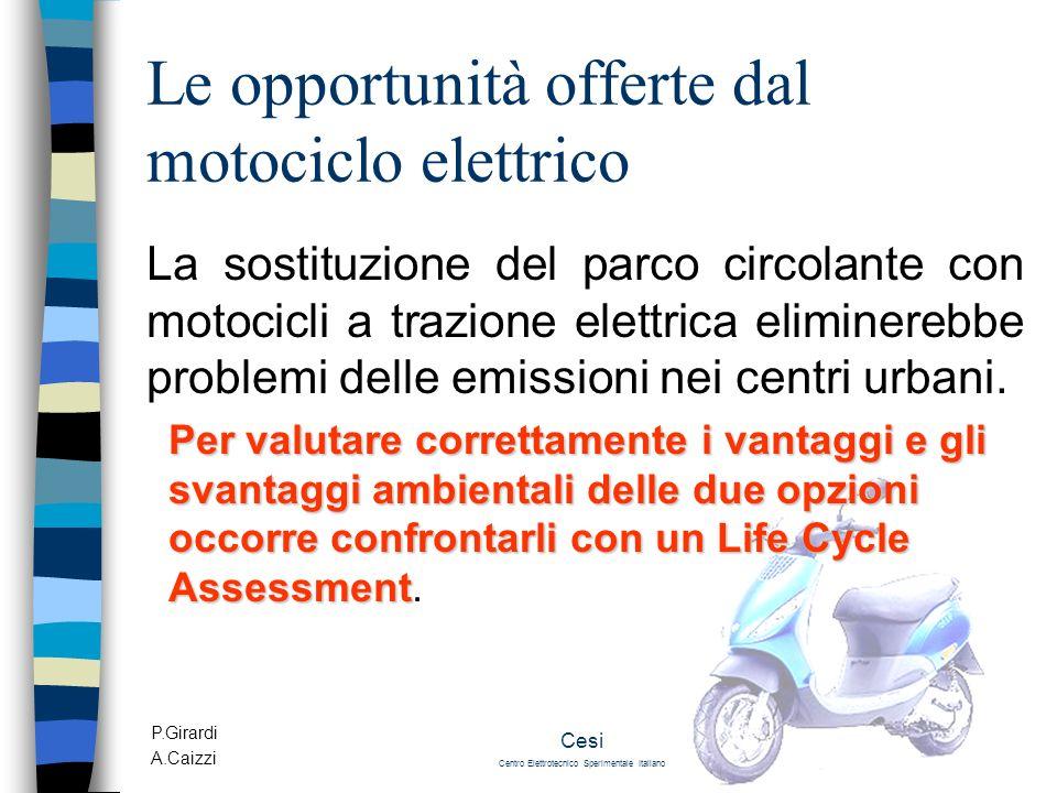 P.Girardi A.Caizzi Cesi Centro Elettrotecnico Sperimentale Italiano Le opportunità offerte dal motociclo elettrico La sostituzione del parco circolant