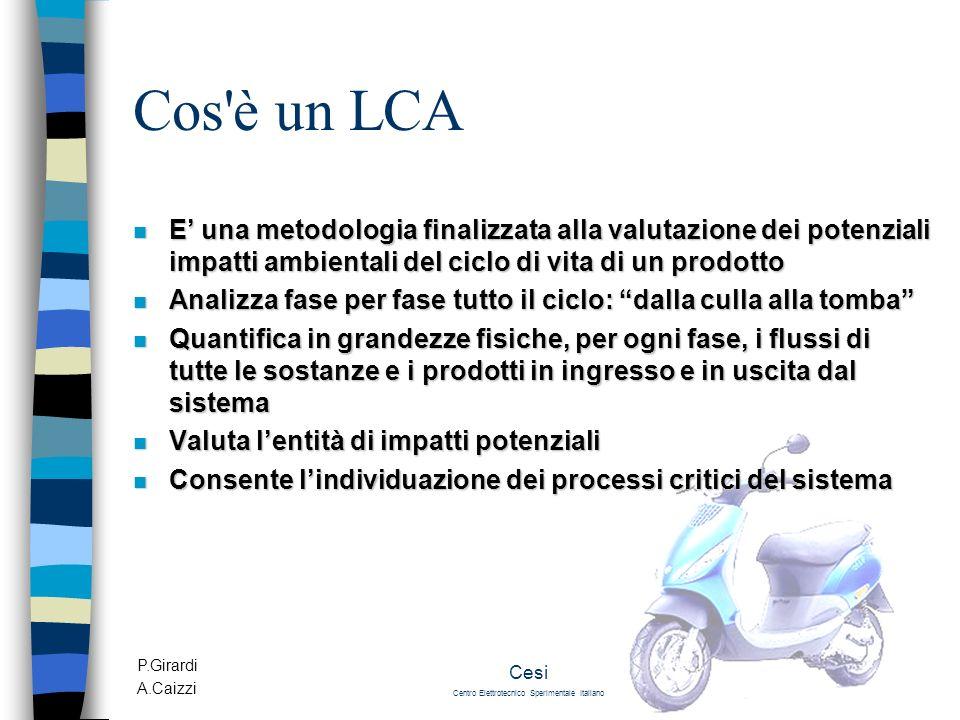 P.Girardi A.Caizzi Cesi Centro Elettrotecnico Sperimentale Italiano Cos'è un LCA n E una metodologia finalizzata alla valutazione dei potenziali impat
