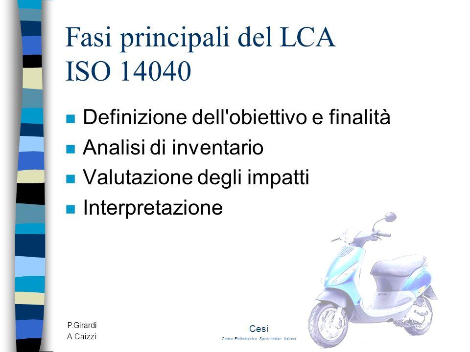 P.Girardi A.Caizzi Cesi Centro Elettrotecnico Sperimentale Italiano Fasi principali del LCA ISO 14040 n Definizione dell'obiettivo e finalità n Analis