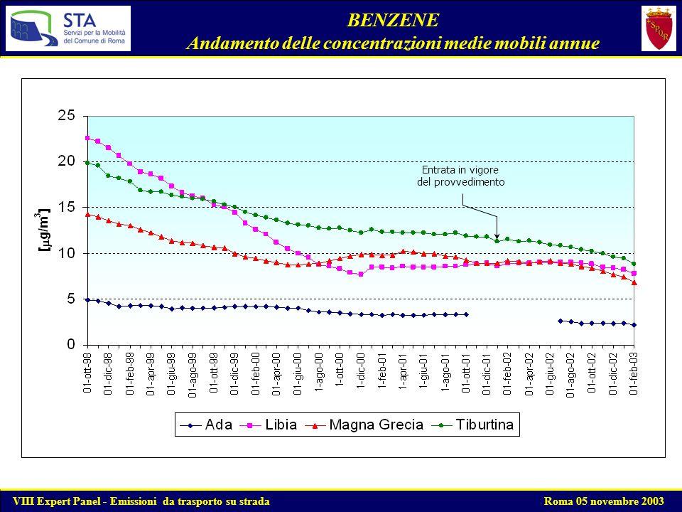 Mappa delle concentrazioni di Benzene - Gennaio 2001 VIII Expert Panel - Emissioni da trasporto su strada Roma 05 novembre 2003