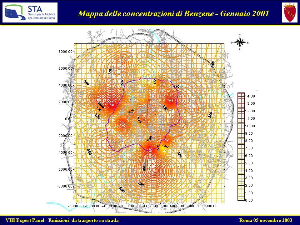 Mappa delle concentrazioni di Benzene - Gennaio 2003 VIII Expert Panel - Emissioni da trasporto su strada Roma 05 novembre 2003