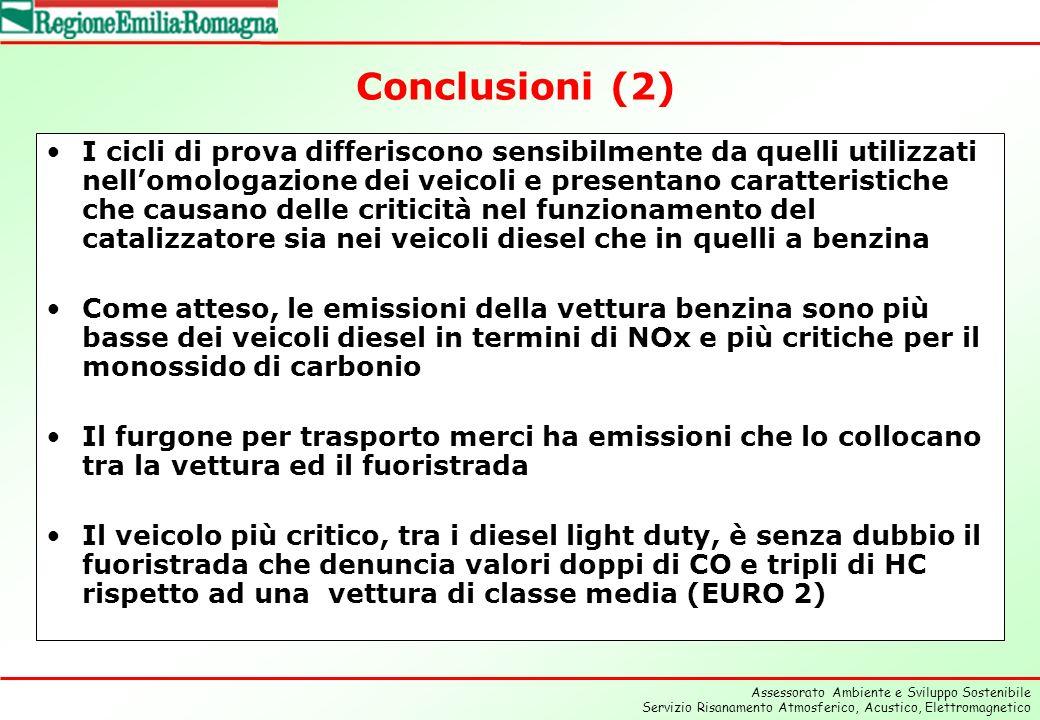 Assessorato Ambiente e Sviluppo Sostenibile Servizio Risanamento Atmosferico, Acustico, Elettromagnetico Conclusioni (2) I cicli di prova differiscono sensibilmente da quelli utilizzati nellomologazione dei veicoli e presentano caratteristiche che causano delle criticità nel funzionamento del catalizzatore sia nei veicoli diesel che in quelli a benzina Come atteso, le emissioni della vettura benzina sono più basse dei veicoli diesel in termini di NOx e più critiche per il monossido di carbonio Il furgone per trasporto merci ha emissioni che lo collocano tra la vettura ed il fuoristrada Il veicolo più critico, tra i diesel light duty, è senza dubbio il fuoristrada che denuncia valori doppi di CO e tripli di HC rispetto ad una vettura di classe media (EURO 2)