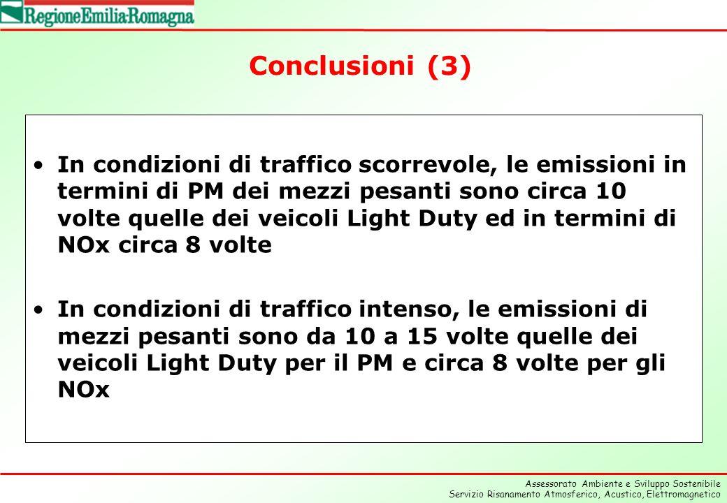Assessorato Ambiente e Sviluppo Sostenibile Servizio Risanamento Atmosferico, Acustico, Elettromagnetico Conclusioni (3) In condizioni di traffico scorrevole, le emissioni in termini di PM dei mezzi pesanti sono circa 10 volte quelle dei veicoli Light Duty ed in termini di NOx circa 8 volte In condizioni di traffico intenso, le emissioni di mezzi pesanti sono da 10 a 15 volte quelle dei veicoli Light Duty per il PM e circa 8 volte per gli NOx