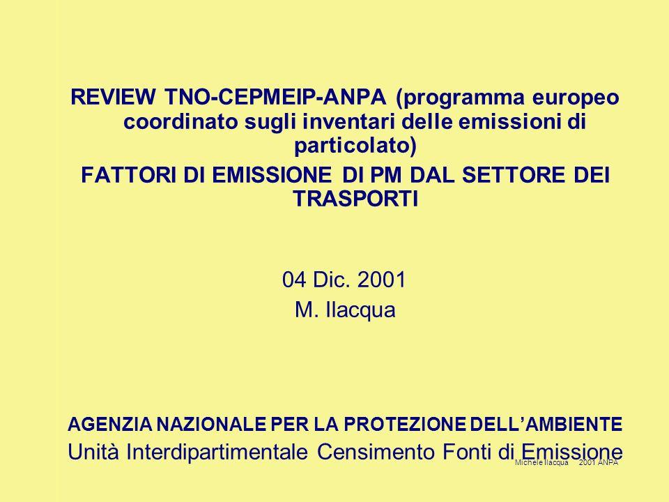 Michele Ilacqua 2001 ANPA REVIEW TNO-CEPMEIP-ANPA (programma europeo coordinato sugli inventari delle emissioni di particolato) FATTORI DI EMISSIONE DI PM DAL SETTORE DEI TRASPORTI 04 Dic.