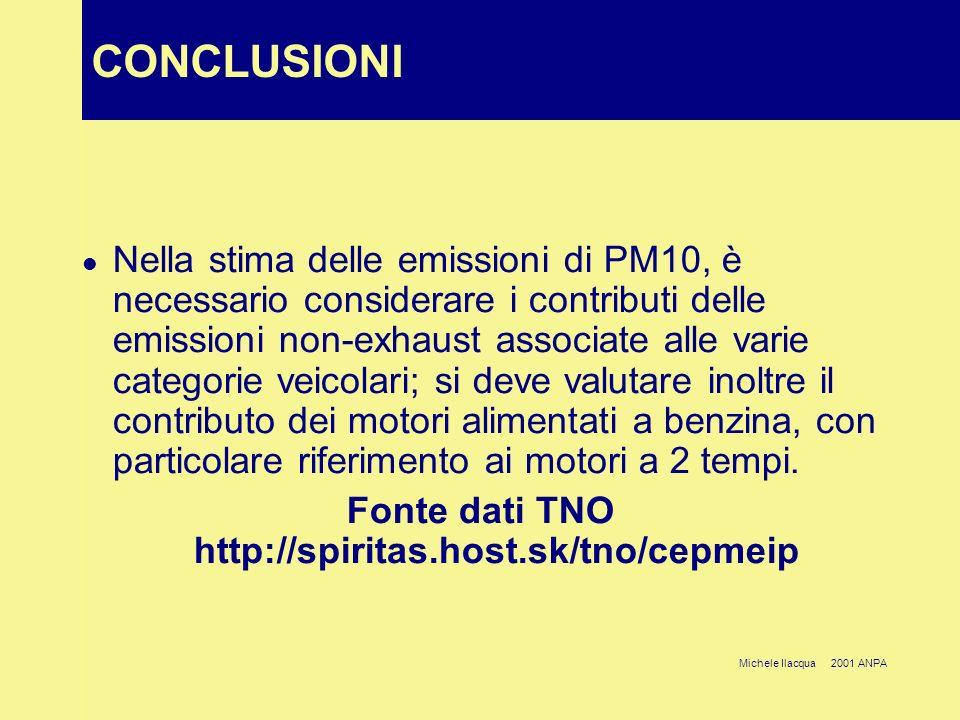 Michele Ilacqua 2001 ANPA CONCLUSIONI Nella stima delle emissioni di PM10, è necessario considerare i contributi delle emissioni non-exhaust associate
