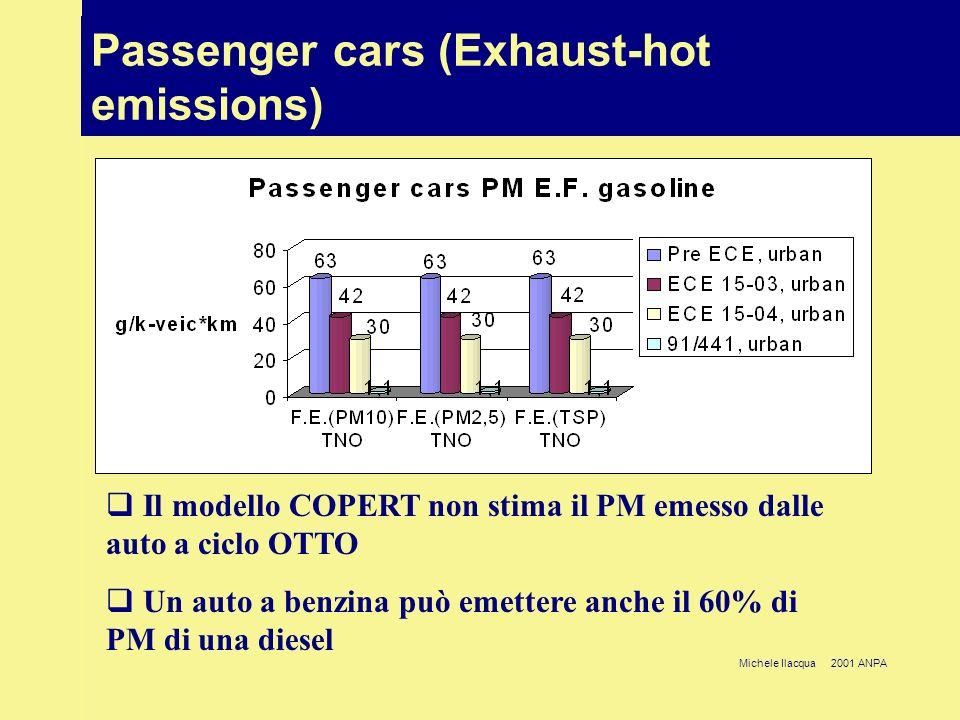 Michele Ilacqua 2001 ANPA CO 2 settore trasporti (Mton) Passenger cars (Exhaust-hot emissions) Il modello COPERT non stima il PM emesso dalle auto a c