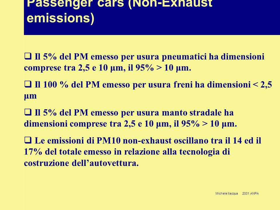 Michele Ilacqua 2001 ANPA Passenger cars (Non-Exhaust emissions) Il 5% del PM emesso per usura pneumatici ha dimensioni comprese tra 2,5 e 10 μm, il 95% > 10 μm.