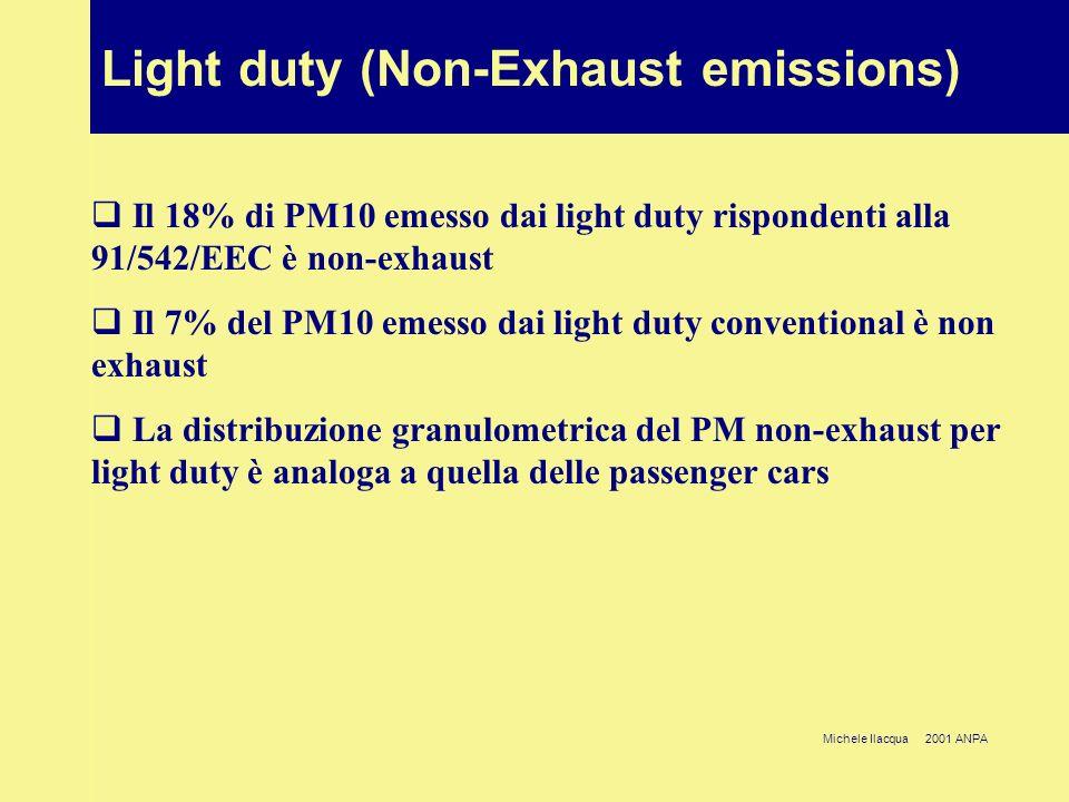 Michele Ilacqua 2001 ANPA Heavy duty (Exhaust hot-emissions) Le emissioni di PM passando da Conventional a 91/542/EEC si riducono del 34%