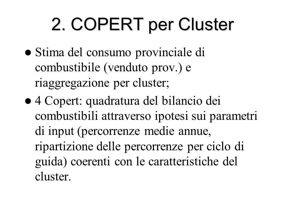 2. COPERT per Cluster Stima del consumo provinciale di combustibile (venduto prov.) e riaggregazione per cluster; 4 Copert: quadratura del bilancio de