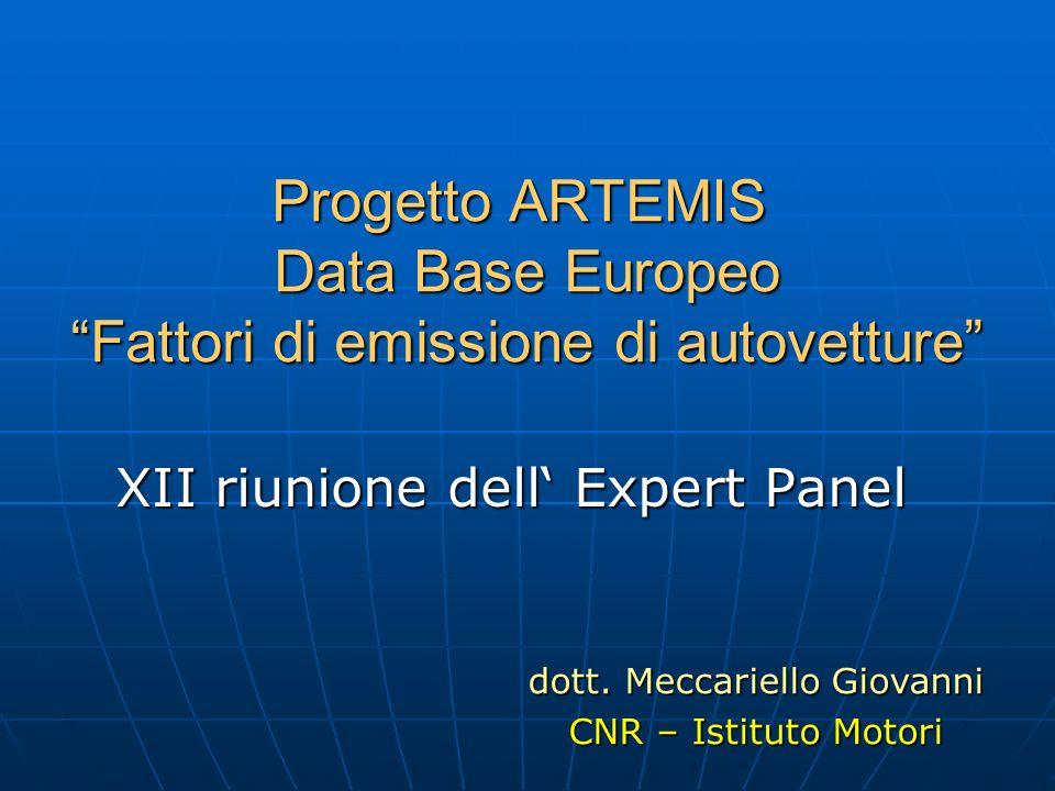 Progetto ARTEMIS Data Base Europeo Fattori di emissione di autovetture XII riunione dell Expert Panel dott. Meccariello Giovanni CNR – Istituto Motori