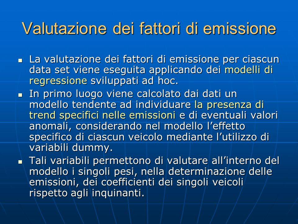 Valutazione dei fattori di emissione La valutazione dei fattori di emissione per ciascun data set viene eseguita applicando dei modelli di regressione