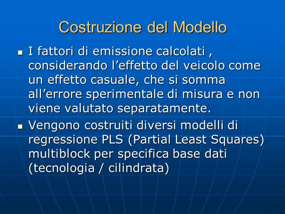 Costruzione del Modello I fattori di emissione calcolati, considerando leffetto del veicolo come un effetto casuale, che si somma allerrore sperimenta