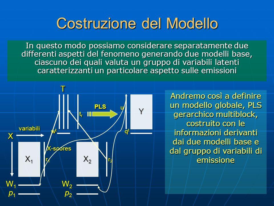 Costruzione del Modello Andremo così a definire un modello globale, PLS gerarchico multiblock, costruito con le informazioni derivanti dai due modelli