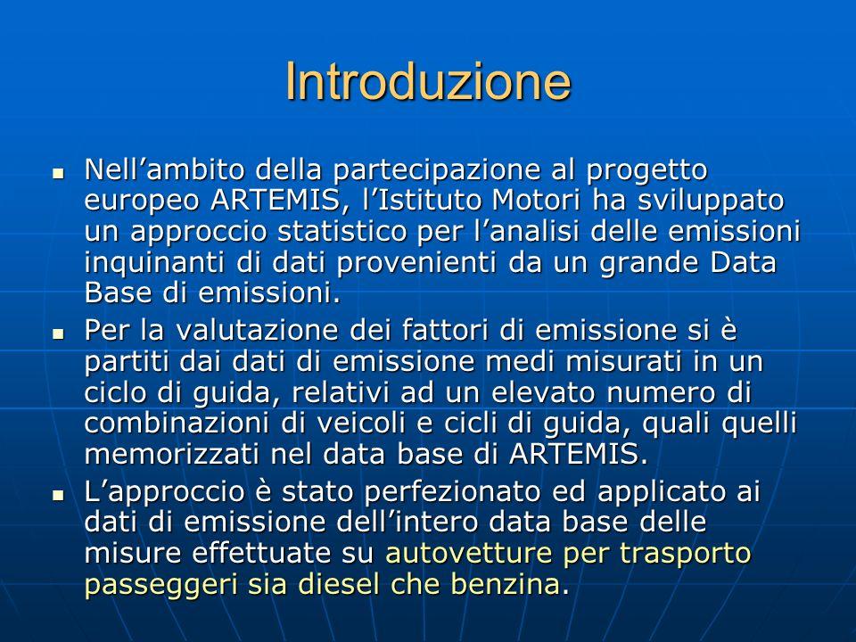 Introduzione Nellambito della partecipazione al progetto europeo ARTEMIS, lIstituto Motori ha sviluppato un approccio statistico per lanalisi delle em