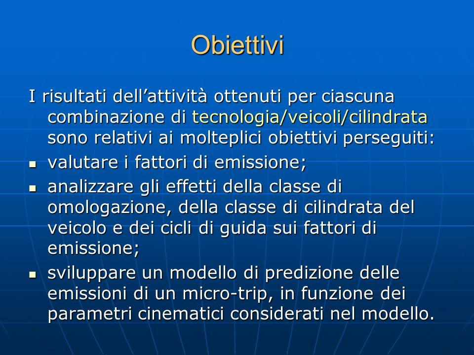 Obiettivi I risultati dellattività ottenuti per ciascuna combinazione di tecnologia/veicoli/cilindrata sono relativi ai molteplici obiettivi perseguit