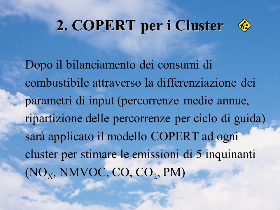 2. COPERT per i Cluster Dopo il bilanciamento dei consumi di combustibile attraverso la differenziazione dei parametri di input (percorrenze medie ann
