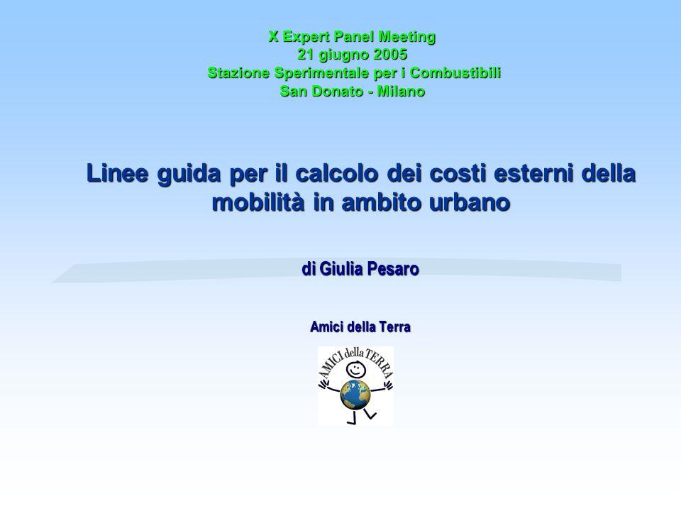 X Expert Panel Meeting 21 giugno 2005 Stazione Sperimentale per i Combustibili San Donato - Milano Linee guida per il calcolo dei costi esterni della mobilità in ambito urbano di Giulia Pesaro Amici della Terra
