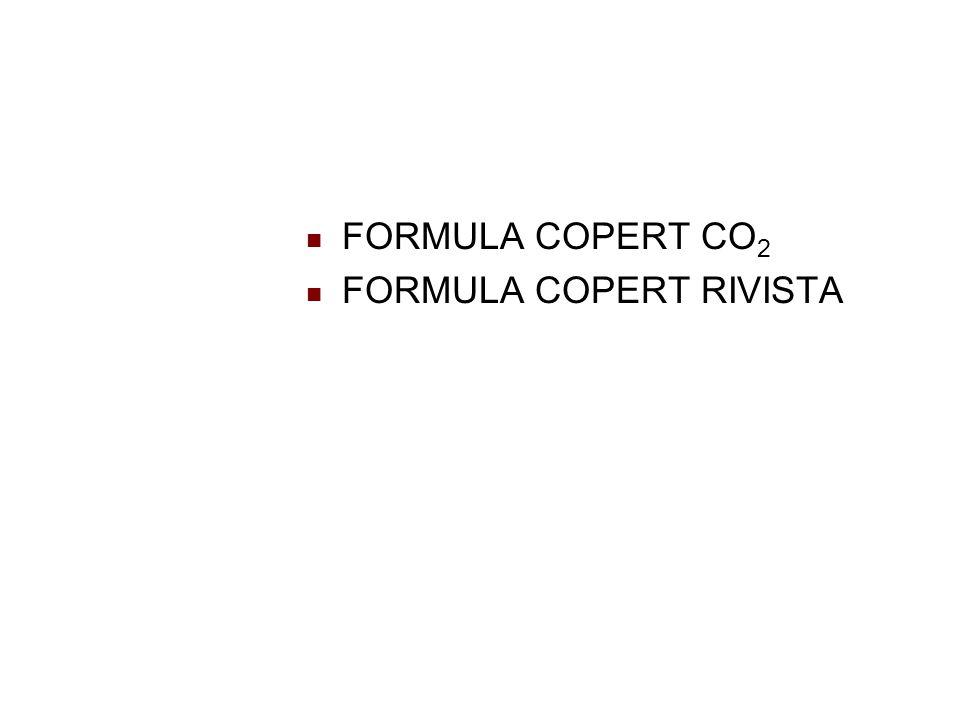 CO 2 COPERT FORMULA = rapporto tra numero di atomi di idrogeno e carbonio nel combustibile FC = consumo combustibile = Emissioni calcolate di CO 2, in peso