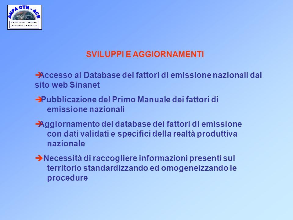 Centro Tematico Nazionale Atmosfera Clima Emissioni SVILUPPI E AGGIORNAMENTI èAccesso al Database dei fattori di emissione nazionali dal sito web Sina