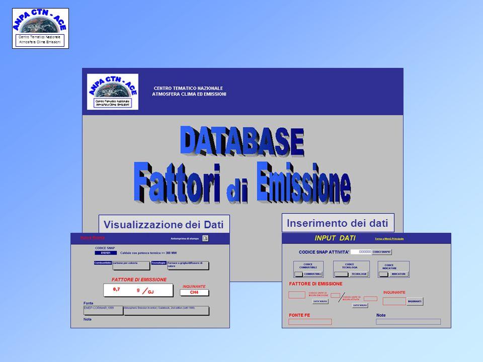 Centro Tematico Nazionale Atmosfera Clima Emissioni Visualizzazione dei Dati Inserimento dei dati