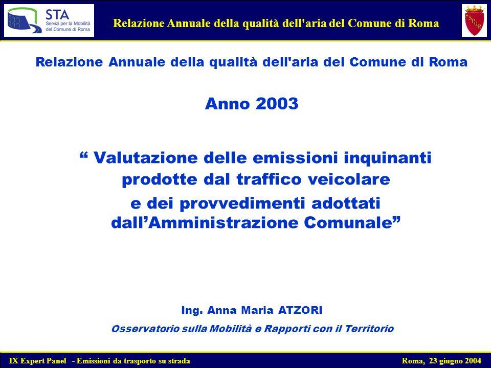 Valutazione delle emissioni inquinanti prodotte dal traffico veicolare e dei provvedimenti adottati dallAmministrazione Comunale IX Expert Panel - Emissioni da trasporto su strada Roma, 23 giugno 2004 Ing.